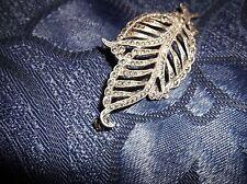 Elegant Marcasite Solid Silver Brooch/HOMOLOGUE Leaf Shaped Very Sparkly