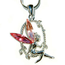 Pink w Swarovski Crystal Fairy Tinker Bell Tinkerbell ANGEL Pendant Necklace New