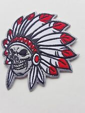 NORTH AMERICAN NATIVE RED INDIAN CHIEF SKELETON HEAD EMBROIDERED PATCH UK SELLER