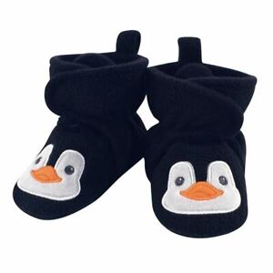 Hudson Baby Boy Animal Fleece Booties, Navy Penguin