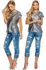 NEW Womens 3/4 Denim Pedal Pushers Shorts Capri Size 6 8 10 12 14 Blue Pants