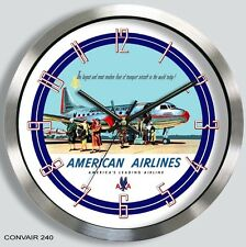 AMERICAN AIRLINES CONVAIR 240 WALL CLOCK METAL 1950's 340 440