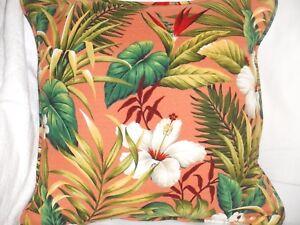 Tropical Hawaiian Cotton Barkcloth Fabric CORDED PILLOW ~Hibiscus Garden-Coral~