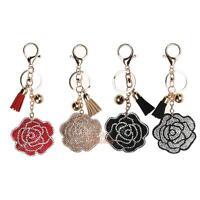 Rhinestone Flower Keychain Tassels Leather Keyring Bag Crystal Key Chain Gift