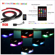 12V Multi-Color RGB LED Car Underglow Lights Strips Music Wirelss Remote Control