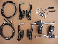 BRAKE SET VBrake Calipers Cables Levers Fittings MTB ATB Hybrid Bike      BLACK
