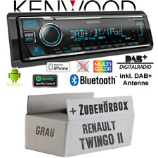 Kenwood Radio für Renault Twingo 2 DAB+ Bluetooth iPhone/ Android Einbauset Auto
