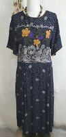 Makis Honolulu Hawaii Dress Size Medium Maxi /Midi blue floral Hawaiian