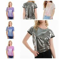 Womens Sparkly Metallic Casual Summer Short Sleeve T-Shirt Blouse Tops Tee Shirt