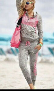 NEW Victoria Secret Pink Fashion Show Limited Edition Hoodie Jogger Outfit Set L