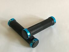 Locking ATV Handlebar Grips Billet Blue Black Yamaha Raptor 125 250 350 660 700