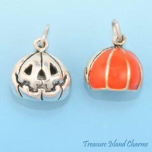 Jack-O-Lantern Halloween Orange Pumpkin 3D 925 Sterling Silver Charm
