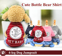 New 4-leg Dog Jumpsuit Cute Bottle Bear Shirt Jeans Pants One Piece Pet Apparel