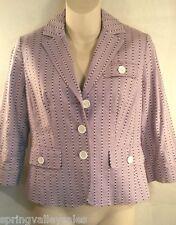 Ann Taylor LOFT Jacket & Capri Pants Slacks Outfit 2pc SET Blk Purple Womens 2&0