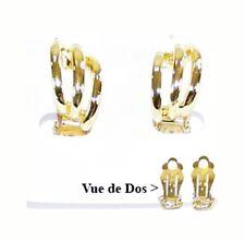 Boucle d'oreille clips oreille non percée métal doré, bijoux fantaisie neuf