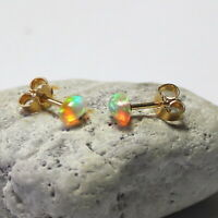 Crystal Opal Ohrstecker Äthiopien – Silber 925 vergoldet – bunt Welo Ohrringe