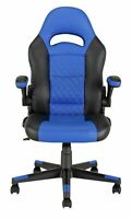 New Argos Home Raptor Faux Leather Gaming Chair - Black & Blue-GO93..