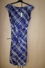 Linea dress s14 blue with white checks lined sleeveless silk/cotton belt