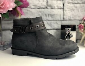 GREY - FAUX SUEDE ANKLE BOOTS - BUCKLE TRIM - UK 5 - EU 38 - Brand New In Box