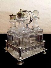 Antique Silver Plate & Cut Glass Cruet Set On Stand Salt & Pepper - Sheffield