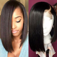 "8-12"" Short Bob Lace Front Wig Brazilian Virgin Human Hair Full Wigs Free Part P"