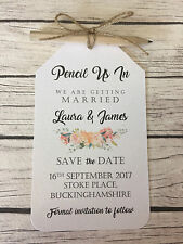 Pencil Us In Vintage/Rustic Peach Floral Wedding Save the Dates, pencil, twine