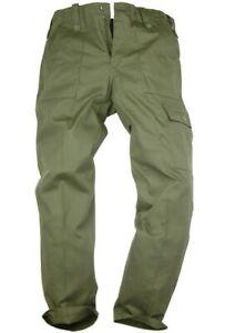 GENTS PLAIN OLIVE MILITARY COMBAT TROUSERS 100% cotton Mens OG NATO cargo pants