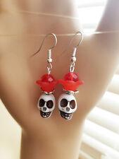 day of the dead sugar skull earrings flower skeleton jewelry red goth muertos