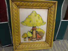 Pen and Ink Color Mushroom Drawing Framed Signed Ki Ki