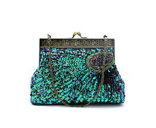 Brand Blue Color Peacock Feather Pattern Style Beaded Sequin Evening Bag handbag