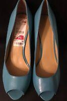 NINE WEST Women's  Turquoise Leather Open Toe Heels Pumps Shoes Sz 9.5 M