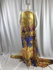 TIE DYED CHIFFON WITH GOLD FLOWERS PRINT-APPAREL-DRESSES-SHEER-SOLD BY THE YARD.