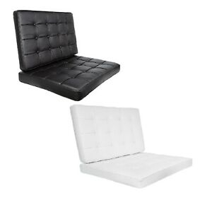 Barcelona Replacement Chair Cushion Set Black White Leather Soft Seat & Backrest
