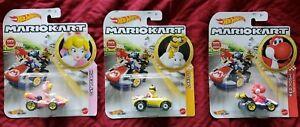 New 2021 Hot Wheels Mario Kart Lakitu, Red Yoshi,& Cat Peach Lot Of 3