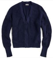 J. Crew Point Sur Size L Chunky Knit Ribbed Cardigan Grandpa Sweater Navy Blue
