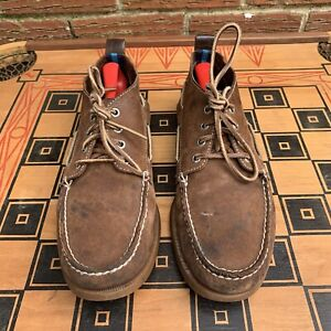 Sperry Top Sider x J.Crew Men 11 M 4 Eye Boat Shoes Boots Brown Leather 0824920