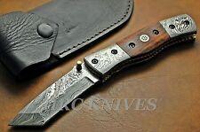 "DD17 ~7.5"" CUSTOM HRC DAMASCUS TANTO FOLDING KNIFE COCOBOLO WOOD HANDLE - USA"