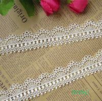 2 yards Wide 3.2CM Vintage off White Polyester Lace Trim Ribbon Sewing DIY Craft