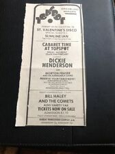 67-3 Ephemera 1974 Margate Dreamland Advert Dickie Henderson Bill Haley