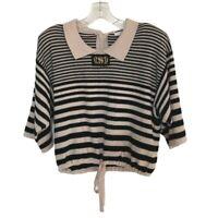 SONIA RYKIEL Paris Sweater Women's Size Small Stripe Short Sleeve Tie Bottom
