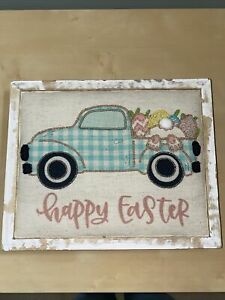 Rustic Farmhouse Shabby Chic Easter Box Sign Spring Truck- Fabric Beaded