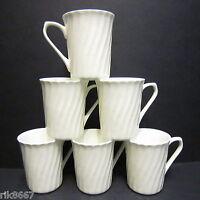 Set Of 6 White Spiral Shape Fine Bone China Mug cups Beakers