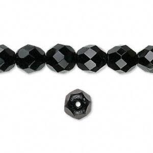 Fire Polished 8mm Jet Black 30 Beads