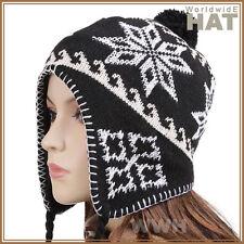 Peruvian Nepal Beanie Cap Winter Hat Sherpa Black pr35d bid