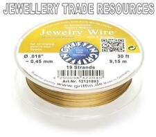 """GRIFFIN GOLD PLATED STEEL BEADING JEWELRY WIRE .018"""" / 0.45mm 30 FT. 19 STRAND"""