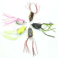 HOT 5pcs Cute Small Frog Topwater Fishing Lure Crankbait Hooks Bass Bait Tackle