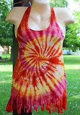 Tye Dye Spandex Blend Fringed Shirt top tee Tie Dye Small Medium