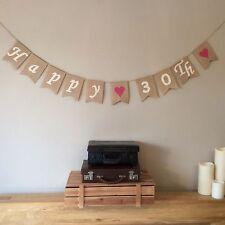 30th Birthday Bunting Banner. Vintage Hessian Burlap