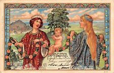 PFINGSTEN-PENTECOST BEAUTIFUL GERMAN ARTIST A WAGNER POSTCARD 1900 PSTMK