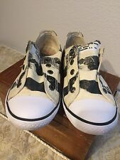 Ed Hardy low rise womens size 7slip on shoes Black Cream rare!!